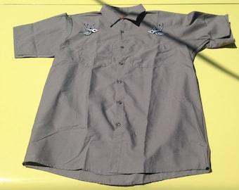 Rockabilly Skeleton Swallows Embroidered Red Kap Grey Work Shirt