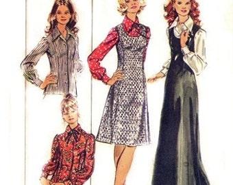 "Simplicity 5266 Pointy Collar ""Hostess"" Blouse & Jumper 1972 / SZ14.5 UNCUT"