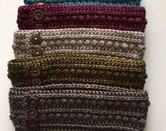 Earwarmer, Ear Warmer Headband, Earwarmer with Buttons, Crochet Headband, Crochet Earwarmer, Crochet Earwarmer Headband, Textured Headwarmer