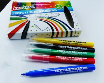 5 markers for fabric textile Green Black yellow red and blue