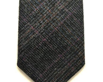 Grey and purple woollen Prince of Wales check tie