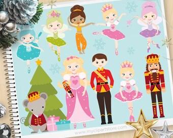 Nutcracker Suite, Ballerina, Fairy Princess Clipart, Mouse King, Ballet Clipart, Personal and Commercial Use Vector Clip Art, SVG Cut