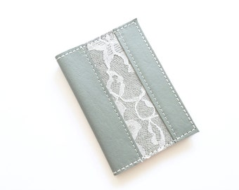 Leather Passport Cover - Grey with White Lace - Passport Cover - Handmade