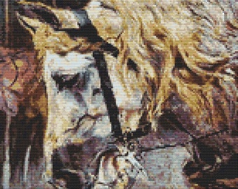 Horse Cross Stitch, The Head of a Horse, Counted Cross Stitch, Embroidery Kit, Art Cross Stitch, Giovanni Boldini