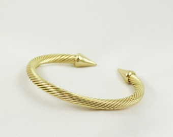 Twisted Round Gold Open Cuff Bracelet