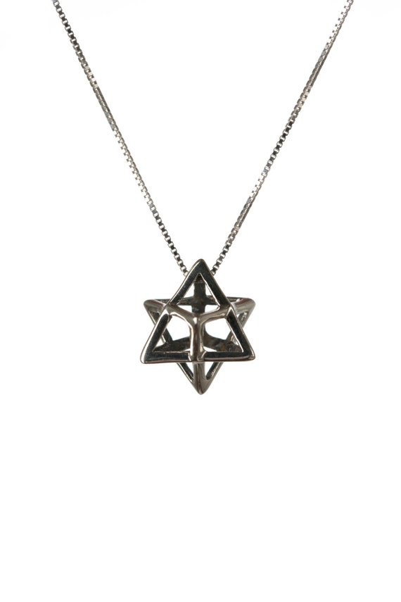Merkaba Necklace Sterling Silver Pendant Sacred geometry