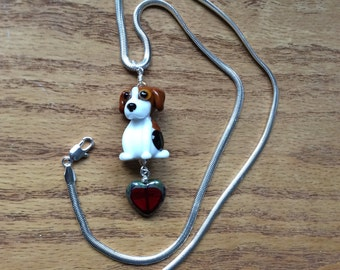 Beagle Heart Lampwork Necklace OOAK