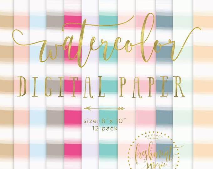 watercolor digital paper  - watercolor paper - digital paper pack -watercolor digital paper pack  - freshmint paperie
