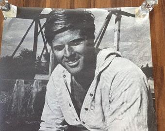1969 Robert Redford Poster Sundance Kid Era Black & White 42x30 Large!