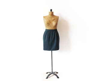 vintage skirt 90's forest green high waisted mini minimalist pencil 1990's women's clothing size s m small medium