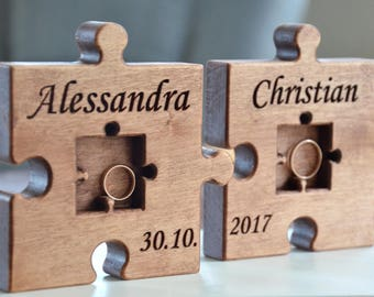 Personalized Wood Wedding Ring Bearer Pillow Puzzle Rustic Wedding Ring Holder Wood Puzzle Ring Bearer Rustic Wedding Decor
