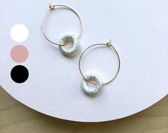 Gold hoop earrings, statement earrings, polymer clay jewelry, geometric earrings, minimalist earrings, gold hoops, Gift for her