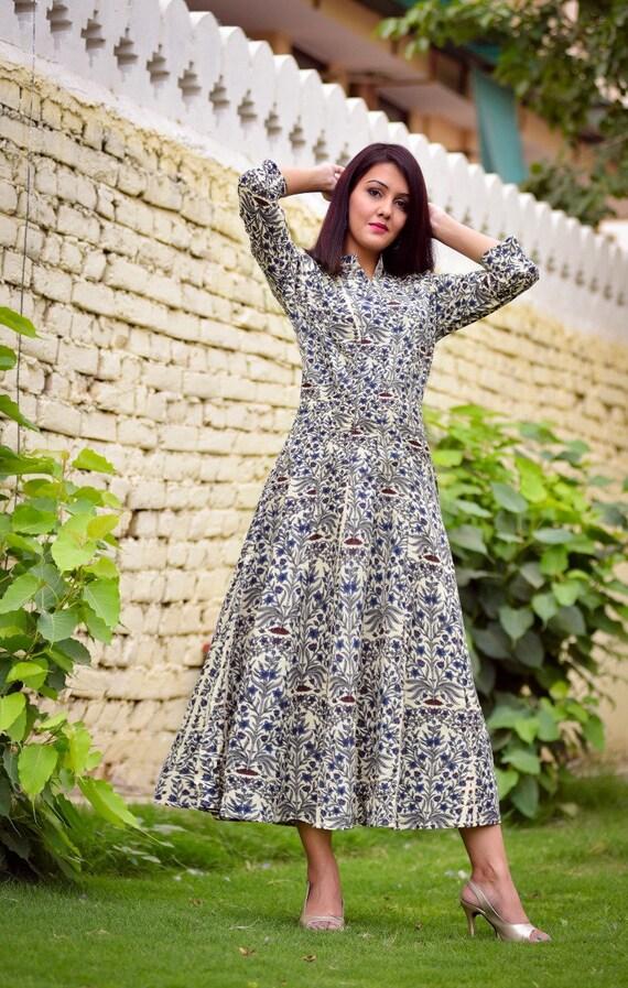 Indische Anarkali Kleid gedruckt Anarkali Kleider westlichen