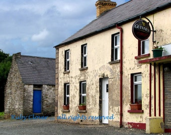 Derelict in DONEGAL, Bay View Pub in INISHOWEN, GUINNESS Sign, Old Stone Building Photo, Blue Door, Ireland Landscape, St. Patrick's Gift