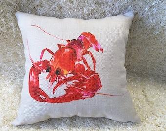 Decorative Lobster Pillow Cushion Cover Double Sides  Linen Pillow Outdoor Pillow Linen Fabric
