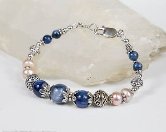 Kyanite, Pearl and Sterling Silver Bracelet