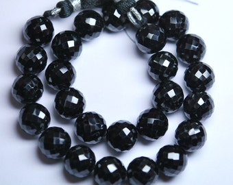 10mm,Full 10 inch Long Strand,BLACK SPINEL Finest Quality Micro Faceted Round Rondells