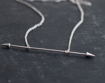 Double Spiked Bar Sterling Silver Chain Necklace