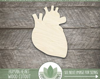 Human Heart Laser Cut Wood Shape, DIY Crafting Supply, Wood Heart Cut Out, Many Size Options, Blank Wood Shapes