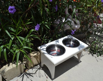 "DOG FEEDER, Raised Wood Table, White, Elevated 9"", Medium Size Dog, w/ 2 One Quart Heavy Duty Lifetime Stainless Bowls/Dishes"