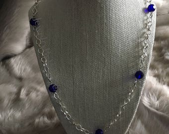 Silver Plated Chain Link Necklace with Navy Beading