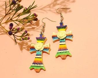 Hand painted zatape cross earrings (White)