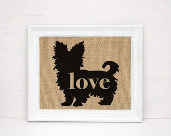 Yorkshire Terrier / Yorkie With Short Hair - Burlap Wall Art Gift for Dog Lovers - Personalize Silhouette w/ Name - More Breeds (101p)