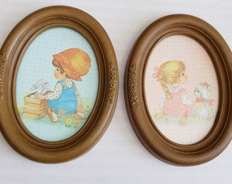 Homco, Home Interiors Boy and Girl Oval Framed Prints