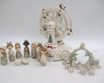 Avon Porcelain Carousel and 2 Nativity Sets