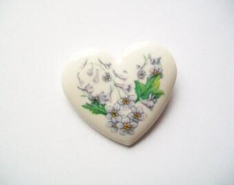 Vintage 80s Avon Floral Heart Porcelain Brooch