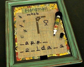 FREE SHIPPING, Dry Erase Board Game, Tic Tac Toe Game, Family Game, Coffee Table Game, Grandparent Gift, Family Gift, Dot Game, Hangman
