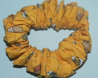 Buzzing Bees & Honey Pots on Yellow-Gold Cotton Fabric Handmade Hair Scrunchie