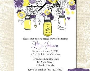 Bridal Shower Invitation - Sunflower Mason Jar Bridal Shower Invite - Yellow Purple Mason Jar Sunflower Wedding Shower -1255 PRINTABLE