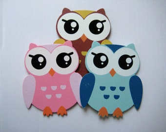 """Owl Wooden Ornaments Pink, Blue, Brown, 3.5"""" x 4"""" for Diaper Cake Centerpieces, Baby Shower Favor, Safari / Jungle Themed,  3 or 6 pieces"""