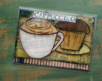 "SALE!  Coffee Print, 5""x7"" Mixed Media Print, Sale Print, Clearance print, Whimsical Coffee, Whimsical print, Coffee Art, Cappuccino Coffee"