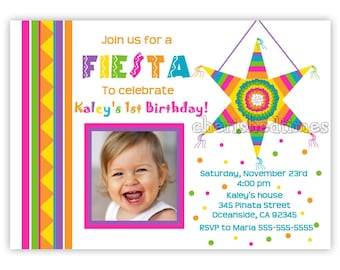 Mexican Fiesta Piñata Birthday Invitation for Girl...Without picture too (Digital File)