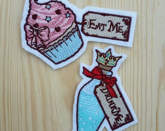Eat Me Drink Me Patches - Alice in wonderland