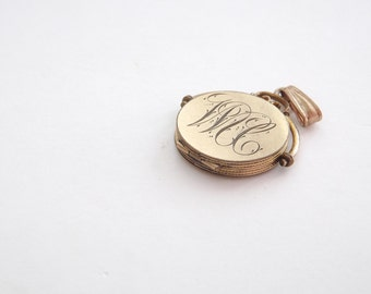 Engraved Circle locket with Vintage Photograph and Diamond