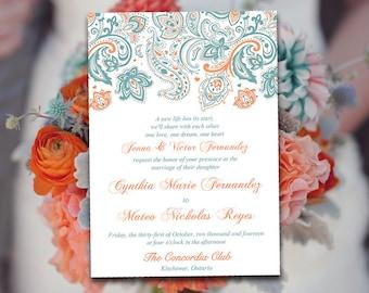 "DIY Wedding Invitation Template - Paisley Invitation Country Blue Peach ""Pretty Paisley"" Printable Wedding Invitation Download"