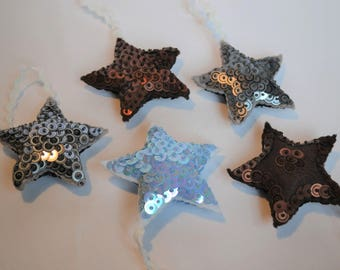 Sequin Star Christmas Decorations