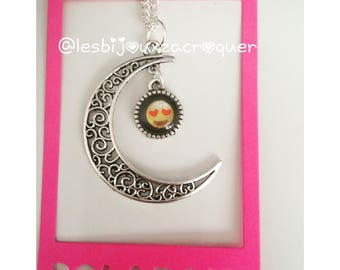 Necklace cameo charm Moon and emoji 5
