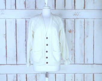 Vintage Town Craft ivory/off white chunky cableknit cardigan sweater/knit boyfriend sweater/cabin sweater/large