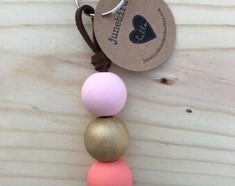 Hand Painted Wood Bead Keychain