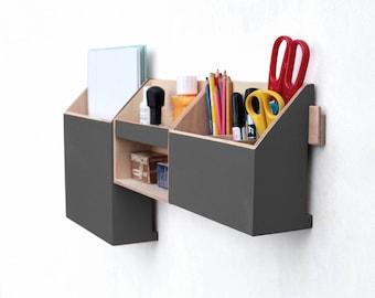 Wall organizer Graphite , Gray Desktop Organizer, Desk Organizer, Wall Wood  Set, Office organizer set, Pen holder, Mail and Paper organizer