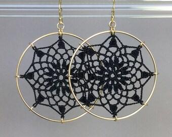 Mandala doily earrings, black silk thread, 14K gold-filled