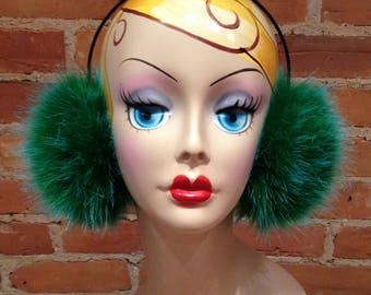 Faux Fur Earmuffs - Plush Green and Blue Faux Fur Earmuffs