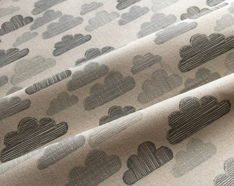Organic fabric by the half metre – grey hand drawn clouds on natural unbleached cotton – furnishings, blinds, curtains, cushions
