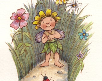Original Watercolor: Bug Confronts Bemused Fairy Child