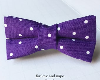 purple and white polka dot bow tie for dogs and cats