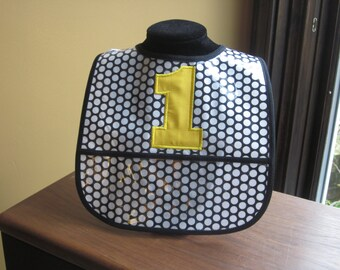WATERPROOF WIPEABLE Baby to Toddler Plastic Coated Bib Black with White Dots